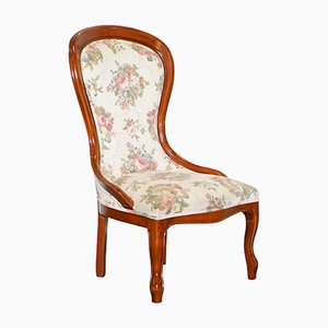 Victorian Floral Walnut Nursing Chair