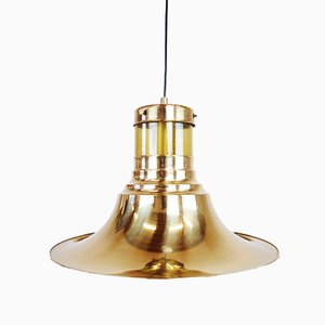 Vintage Glass & Golden Metal Pendant Lamp, 1960s