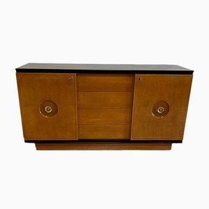 Art Deco Italian Black Lacquered Wood and Maple Chest of Drawers, 1940s