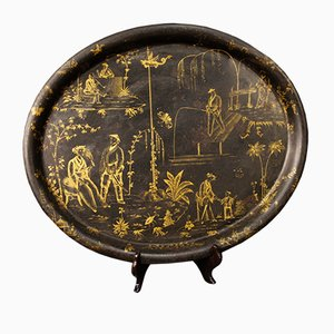 French Lacquered and Painted Chinoiserie Metal Tray, 1890s