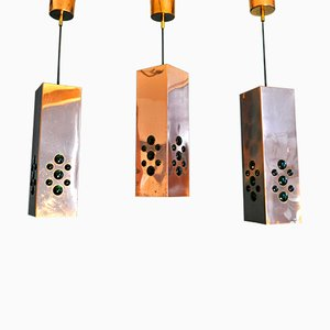 Copper & Glass Pendant Lamps by Hans Agne Jakobsson, 1950s, Set of 3