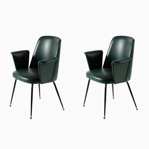 Mid-Century Italian Green Leatherette Armchairs, 1957, Set of 2