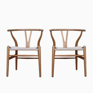 Oak CH24 Wishbone Chairs by Hans J. Wegner for Carl Hansen & Søn, 1960s