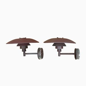 PH4 5/3 Copper Outdoor Wall Lights by Poul Henningsen for Louis Poulsen, 1966, Set of 2