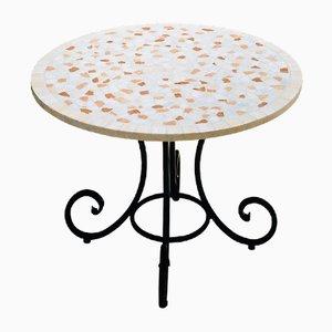 Mesa redonda de mosaico de mármol coral de Egram