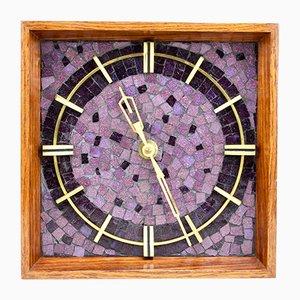 Reloj de pared alemán Mid-Century con mosaico, años 60
