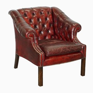 Mid-Century Chesterfield Lutyen's Style Viceroy's Oxblood Leather Armchair