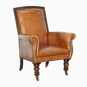 Large Victorian Leather & Mahogany Armchair
