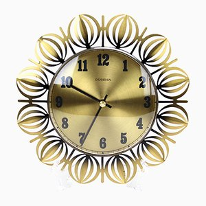 Vintage Brass Sunburst Wall Clock from Dugena, 1960s