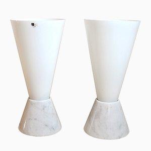 Italienische Mid-Century Glaslampen mit Marmorfüßen, 1970er, 2er Set