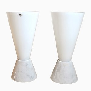 Mid-Century Italian Glass Lamps with Marble Base, 1970s, Set of 2