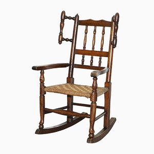 Small Antique Georgian Elm Children's Rocking Chair with Rope Seat