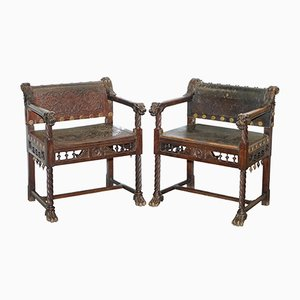 Antique Italian Walnut Armchairs, Set of 2