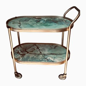 Mid-Century Marble Effect Bar Trolley