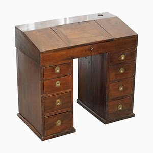 Antique Victorian Apprentice Worker's Desk with Open Flap Top