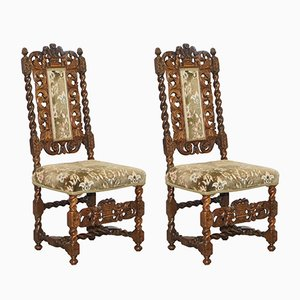 Antique Carved Fruitwood Chairs, Set of 2