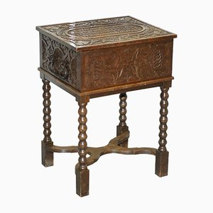 Antique Danish Carved Marriage Chest & Side Table