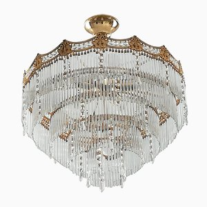 Cascade Crystal & Glass Chandelier, 1960s