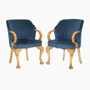 Vintage Royal Blue Lounge Chairs, 1930s, Set of 2