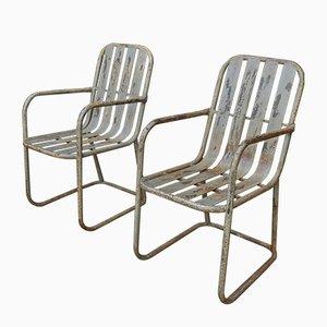 Metal Garden Armchairs, 1960s, Set of 2