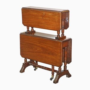 Victorian Mahogany Two-Tier Folding Dumb Waiter Table