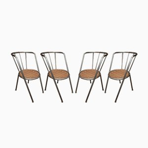 Metal & Oak Armchairs, 1980s, Set of 4