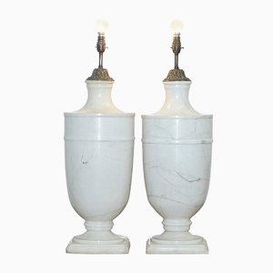 Large Italian Solid White Marble Urn Lamps, 1920s, Set of 2