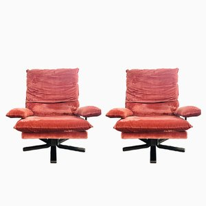 Mid-Century Velvet Swivel Chairs from Stevens, Set of 2