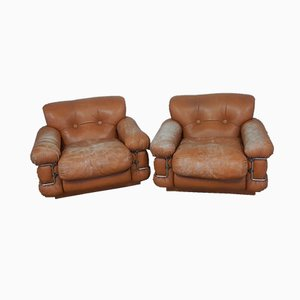Italian Leather Lounge Chairs, 1950s, Set of 2
