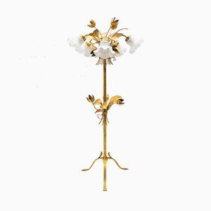 Five-Light Gold Leaf Floor Lamp from Hans Kögl, 1970s