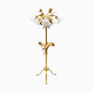 Lámpara de pie con cinco hojas de pan de oro de Hans Kögl, años 70