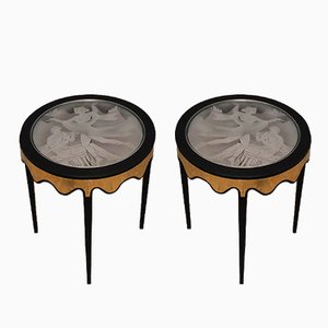 Italian Black Shellac Brass & Glass Side Tables, 1950, Set of 2