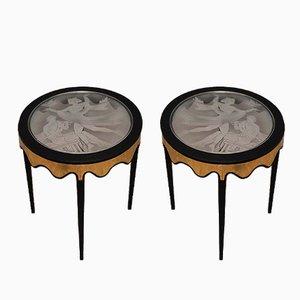 Italian Black Shellac Brass & Glass Side Tables, 1950, Set of 2