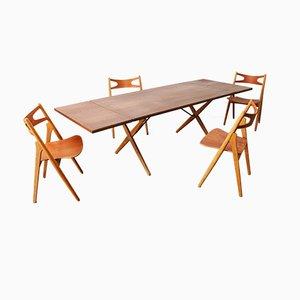 Tavolo da pranzo AT-30S9 con sedie da pranzo CH29 Sawbuck di Hans J. Wegner per Andreas Tuck, anni '50