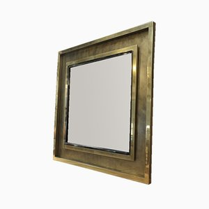 Large Square Brass & Chrome Metal Mirror from Belgo Chrom, 1970s