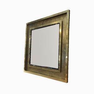 Specchio quadrato grande in ottone e metallo cromato di Belgo Chrom, anni '70