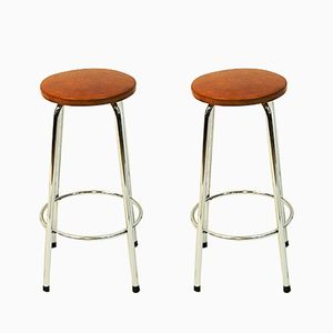 Scandinavian Brown Leather Stools with Chrome Legs, 1960s, Set of 2