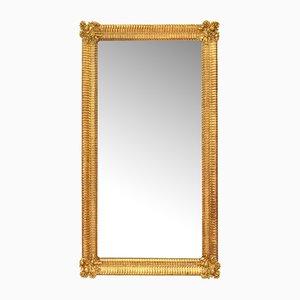 Specchio ovale antico con cornice dorata