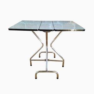 Tavolo pieghevole in formica grigia e bianca con gambe in metallo cromato, anni '60