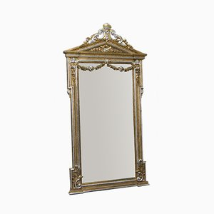 Viktorianischer Spiegel mit vergoldetem & versilbertem Rahmen aus geschnitztem Holz