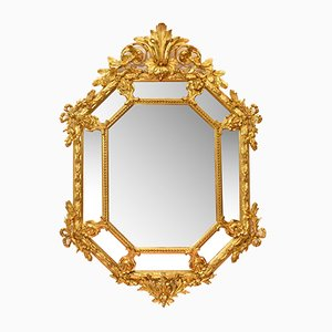 Antique Octagonal Oval Golden Framed Mirror