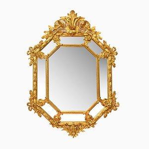 Specchio ottagonale antico con cornice dorata