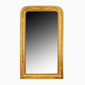Antiker ovaler Spiegel mit Rahmen aus Blattgold mit floralem Dekor