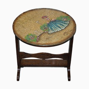 Antique English Oak Tilt-Top Side Table