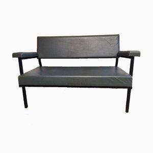 Metal Two-Seater Bench with Gray Skai, 1950s