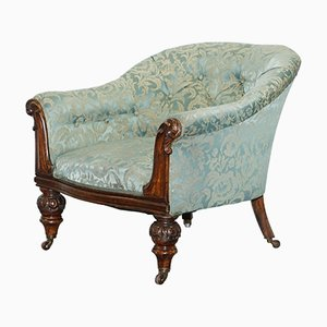 Victorian Redwood and Silk Upholstered Armchair