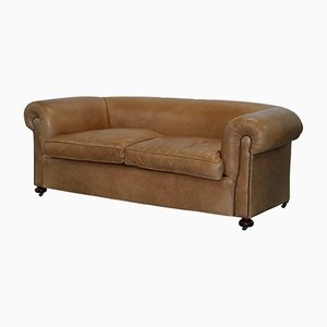 Vintage Victorian Style Brown Leather Sofa, 1930s