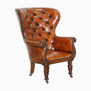 Antique Chesterfield Brown Leather Chair