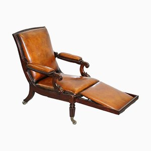 William IV Reclining Brown Leather Armchair with Built-in Footstool