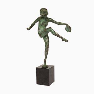 Figurina di una ballerina con tamburo in bronzo di Pierre Laurel, anni '30